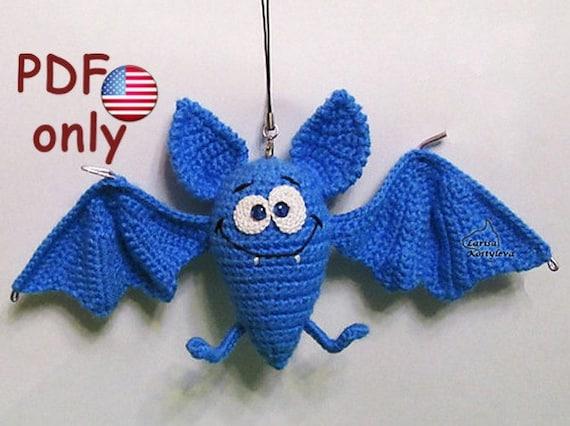 Halloween Amigurumi Crochet Pattern : Crochet pattern funny halloween bat amigurumi animal
