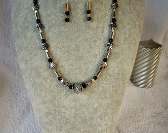 Silver & Black Cylinder tube bead Necklace and Earring set