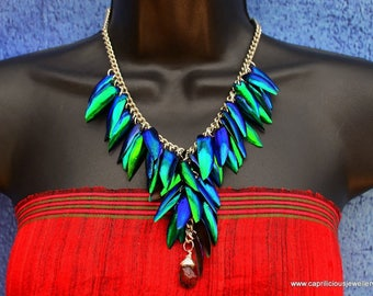 Beetle wing necklace, elytra, insect jewellery, Bling, party wear. UK shop, Wings, shiny jewellery, art jewellery, colourful necklace
