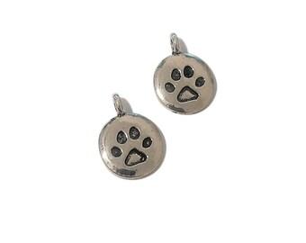 4 Paw Print Charm | Silver Paw Print Charm | Dog Paw | Cat Paw | Animal Paw Print | Ready to Ship from USA | AS089-4