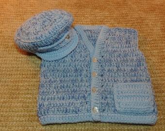 Chubby Boy's Vest and Newsboy Cap size 4-6