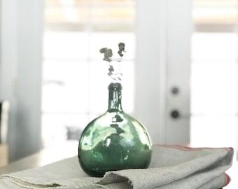 Vintage Green Glass Bottle // Flower Vase