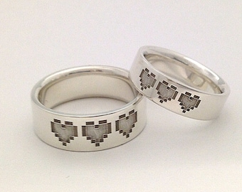 ONE 3 Pixel Hearts in STERLING SILVER- 5mm  or 7mm wide***