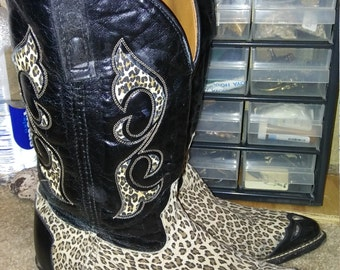 Rare late 70s cheetah print western dancing boots square dance men's size 9.5 D MADE IN Usa