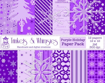 Purple Holiday Digital Scrapbook Papers - Instant Download
