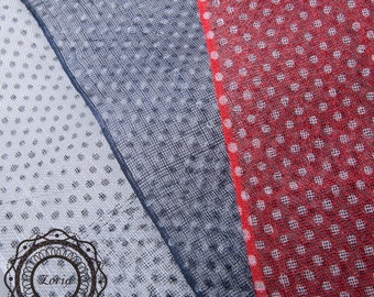 Polka Dots Printed Sinamay Medium Sizing Millinery Fabric per meter | SH7115AS