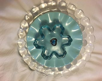 Sky Blue Glass Flower, Suncatcher, Garden Art, Upcycled Glass