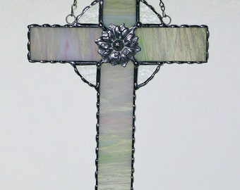 Stained Glass Suncatcher - Glass Cross, Crucifix, Christmas Holiday Gift