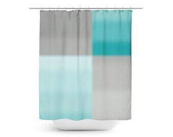 Teal Grey Shower Curtain, Bath Curtain, Gray Bathroom Decor Ombre Grey Teal Color Block