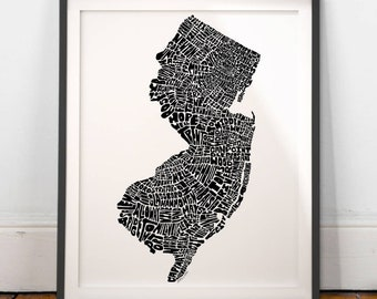 New Jersey map art, New Jersey art print, New Jersey typography map, New Jersey wall decor, Hand-drawn typography map series signed print