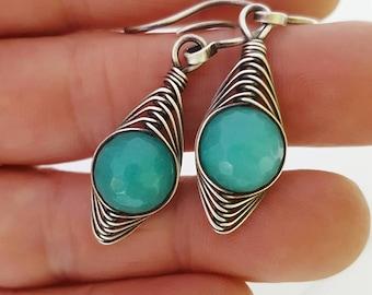 Wire sterling silver earrings/ teal green earrings silver/ green jade earrings handmade/ wrapped gemstone earrings/silver wire earrings wire