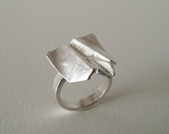 Origami Bat Airplane Ring Sterling Silver Airplane Ring Origami Plane Jewelry Bat Jewelry