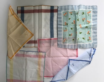 Vintage set of six hankies, striped hanky collection