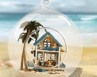 Miniature Beach House in a Globe Ornament