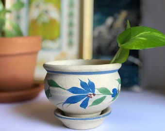 Vintage Ceramic Planter - Blue Floral Pot