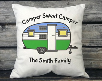 Camper Sweet Camper Travel Trailer Decor Personalized w/Family Name Personalized Gift, Canvas, RV Gift, Trailer Gift, RV Decor SPS-005