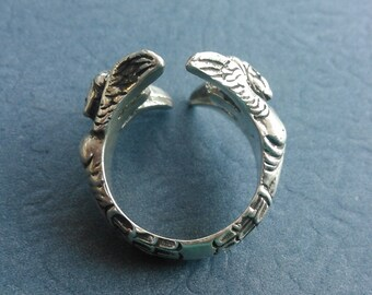 Sterling Silver Human Hybrid Couple Adjustable Ring