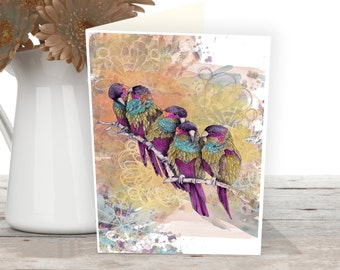 Parrot greeting card, Bird art illustration, Nature art cards
