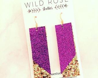 Purple and Gold Earrings; Team earrings; Team spirit Earrings; Glitter Football Earrings