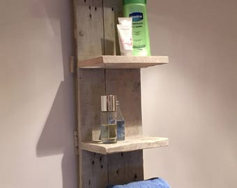 Hand-made pallet shelving whitewashed shabby chic