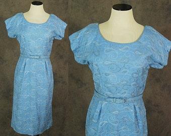 vintage 50s Cocktail Dress - Blue Linen Wiggle Dress 1950s Silver Embroidered Wiggle Dress Sz S