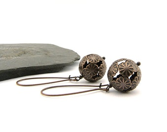 Summer Earrings - lovely Flower embossed hollow bead - dangling earrings - summer accessory - nickel free - lightweight
