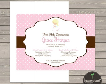 Polka Dot Girl Communion Invitation - Pink Communion Invitation - Girl First Communion Invitation - First Holy Communion - Printed Invite