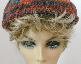 Mens or Womens Hand Knit Star Pattern Slouch Hat Beret Colors Dark Red Teal and Rust (H-114)