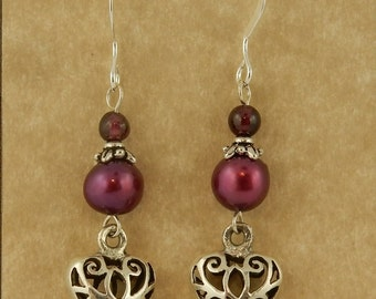 Sterling silver 3D puff Celtic filigree Heart earrings with pearls & garnets