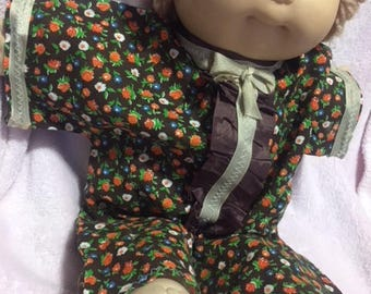Brown Flowered Doll Jumpsuit - fits Cabbage Patch Doll and Preemies too