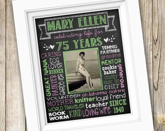 75th Birthday Gift ~ Printable 75th Birthday Party Poster Sign ~ Chalkboard Photo Art Digital JPEG File ~ Gift For Mom Grandma From Kids