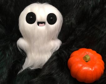 White Happy Ghost Toy - Halloween Decoration - Kawaii Plush - OOAK Art Doll - Ugly Cute - Creepy Horror Toys - Weird Stuffed Animals -