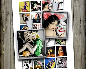 "Halloween Pin Ups Square Images for Pendants 1x1"" 1.5x1.5"" Printable Images Digital Collage Sheet - Instant Download"