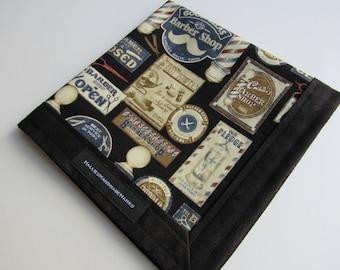 EDC Hank Barber Shop Theme Hank Blue and Black Handmade Hank Everyday Carry Pocket Dump Hank Mens Handkerchief Gift for Him