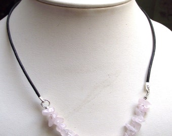 Rose quartz beads and black leather Choker necklace.