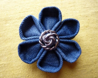 Fabric flower brooch kanzashi jeans with a beautiful round button - Christmas Gift
