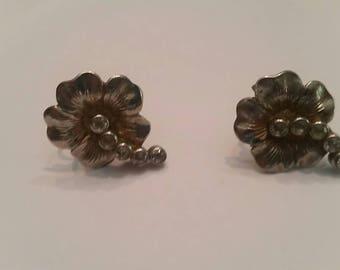 Sterling Silver Flower Earrings Rhinestones
