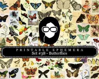 Butterfly Ephemera Pack - Printable Ephemera Set #38 - 30 Page Instant Download - junk journal kit, fruit art, ephemera paper pack