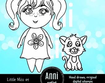 Little Miss 01 Digital Stamp Instant Download - Suitable for Paper Crafts, Scrapbooking, Art Journals