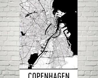 Copenhagen Map, Copenhagen Art, Copenhagen Print, Copenhagen Denmark Art Poster, Copenhagen Wall Art, Map of Copenhagen, Print, Gift, Decor