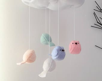 Baby Mobile - pink blue green nursery decoration.  Bird mobile, Cloud mobile