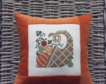 Cornucopia Pillow Vintage Style Handmade Orange Velvet Ticking Cross Stitch Rustic Primitive Folk Art Thanksgiving Fall Harvest Decoration