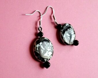 Earrings Mother of Pearl and Onyx Black
