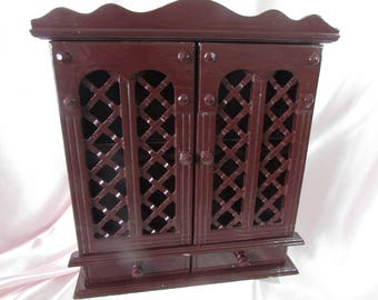 Spice Cabinet, VINTAGE wood wall Cabinet wood, VTG shelf with 2 doors fence wood, Mid Century small Cabinet painted Brown