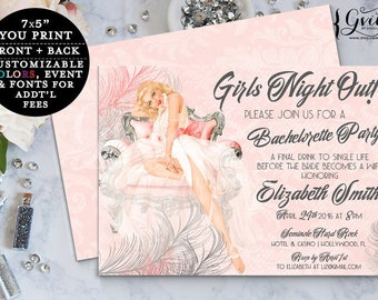 Pin Up Girl Bridal Shower, pinup invitation, lingerie shower 1950s blush pink vintage pinup, pink and silver, girls night out, bachelorette.