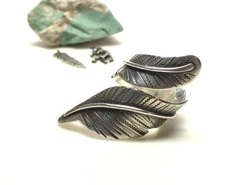 sterling silver feather wrap ring wrapped feather . bypass ring. feather ring