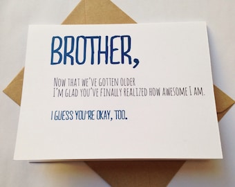 Brother birthday card funny card for brother sibling brother card brother birthday card funny card card for friend siblings day snarky brother m4hsunfo