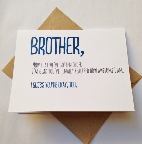 Funny Birthday Quotes For Your Brother: Brother Card Brother Birthday Card Funny Card Card For