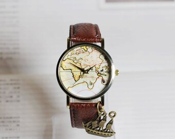 Map watch,Sailing diary,Travel around the world,Wrist watch, Women watch, Leather Watch ,Birthday gift, Special gift