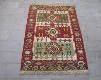ANGORA WOOL KILIM-Vintage Turkish Kilim with Best Quality Angora Wool-Unique Rug-Terracotta Rug-Terracotta Kilim-Tribal Kilim-Handmade Kilim